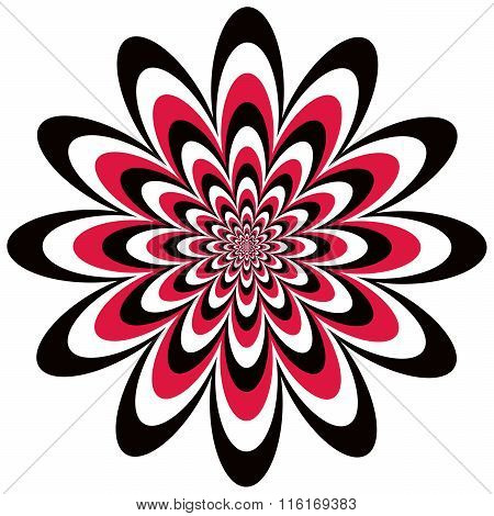 Op Art Flower optical illusion design in red, black and white. Colors are grouped for easy editing.