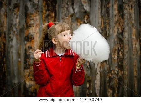 Beautiful little girl eating candy floss (cotton candy).