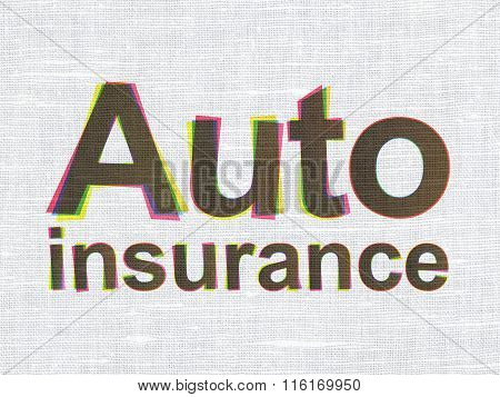 Insurance concept: Auto Insurance on fabric texture background