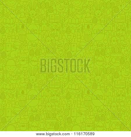 Thin Line Happy Easter Green Seamless Pattern