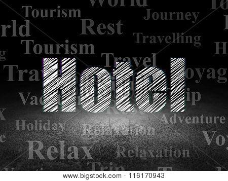 Travel concept: Hotel in grunge dark room