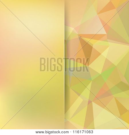 Geometric Pattern, Polygon Triangles Vector Background In Yellow, Light Green And Orange Tones. Blur