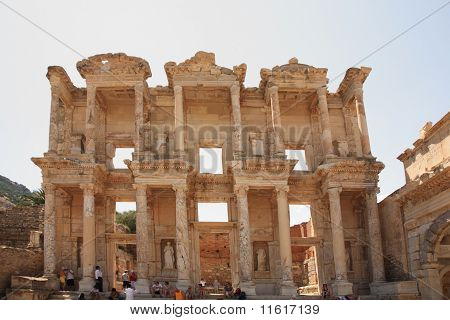 Tourists Admiring Celsus Library Ephesus