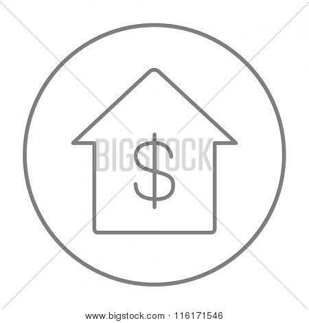 House with dollar symbol line icon.