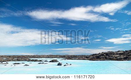 Blue colored lake and deep blue sky