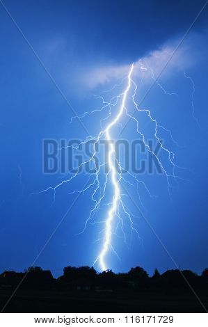 Lightning storm at night