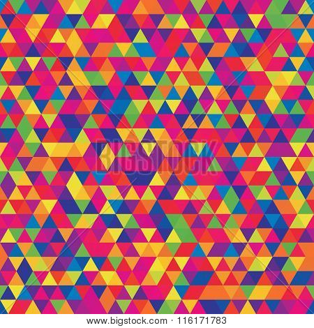 Abstract Seamless Mosaic Background. Triangle Geometric Background. Vector Illustration. Rainbow-col