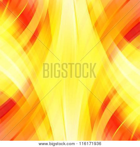 Vector Illustration Of Yellow, Orange Abstract Background With Blurred Light Curved Lines. Vector Ge