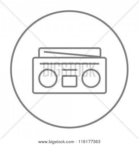 Radio cassette player line icon.