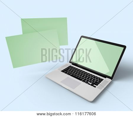 Open laptop with additional displays floating in the air. Clipping paths for all displays included.