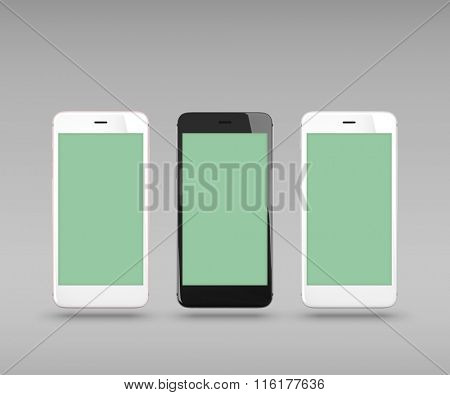 Smart phones isolated on gray background. With clipping paths for their displays.