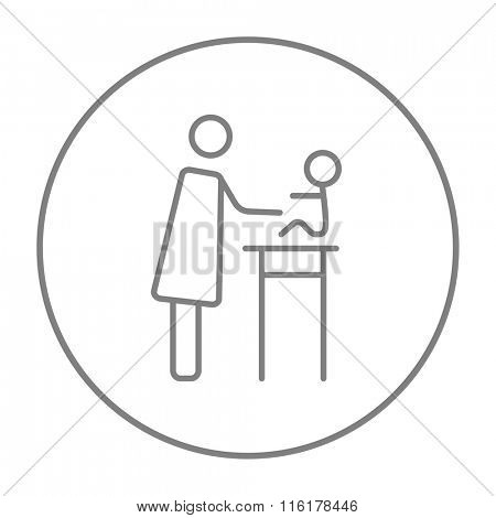 Woman taking care of baby line icon.
