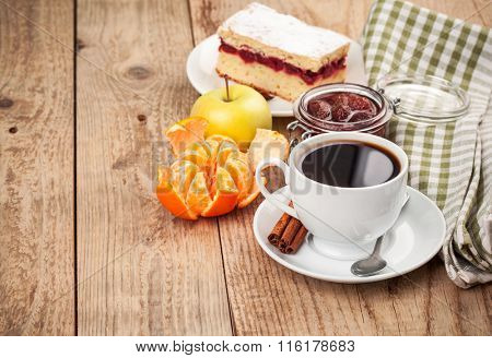 Cup coffee breakfast rustic style stock photo. Stock photo