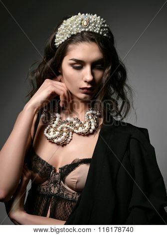 Portrait Of Young Brunette Fashion Woman With Pearl Jewelry