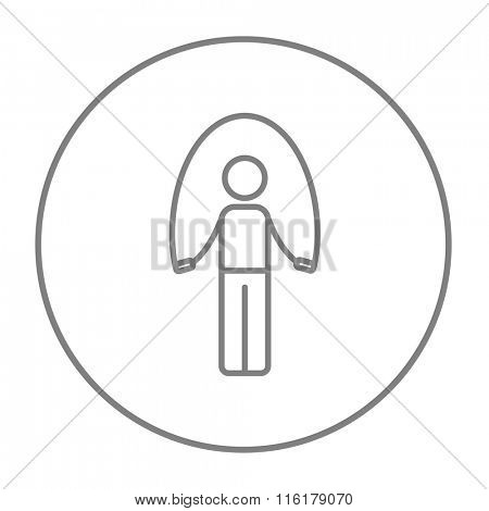Man exercising with skipping rope line icon.