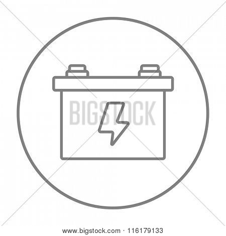 Car battery line icon.