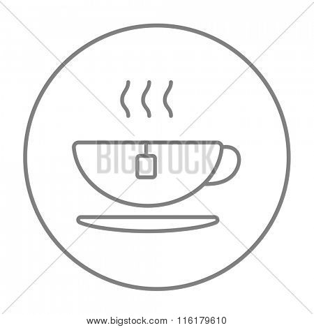 Hot tea in cup line icon.