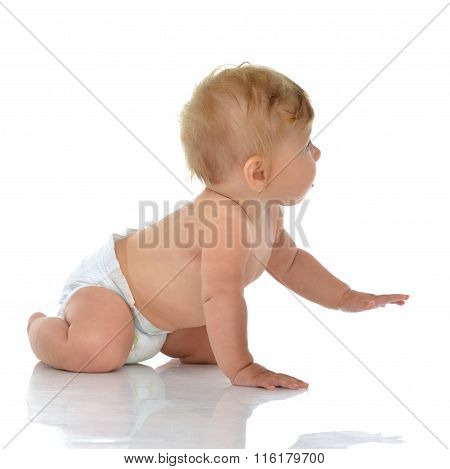 Infant Child Baby Toddler Sitting Or Crawling Looking At The Corner