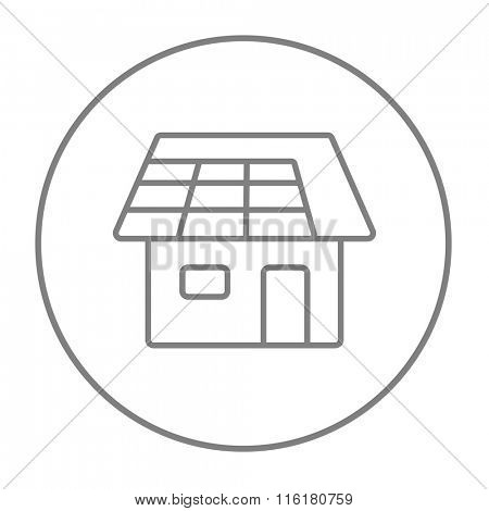 House with solar panel line icon.