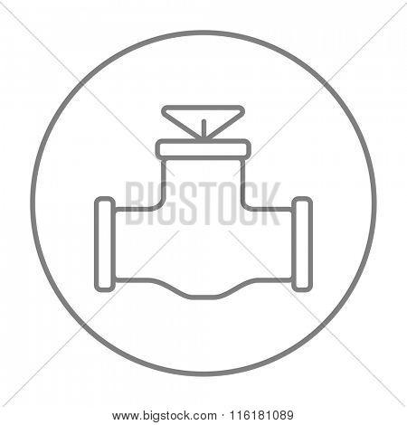 Gas pipe valve line icon.