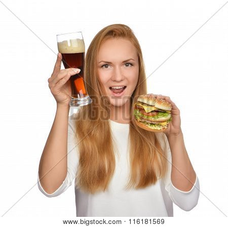 Fast Food Concept. Woman Hold Tasty Unhealthy Burger Sandwich