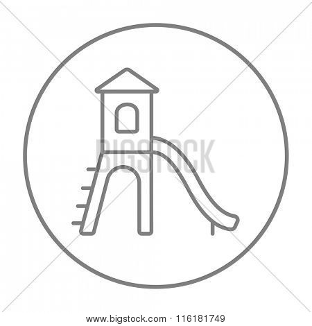 Playground with slide line icon.