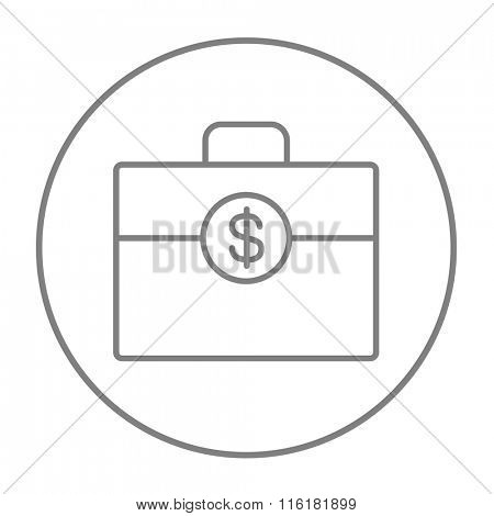 Suitcase with dollar symbol line icon.
