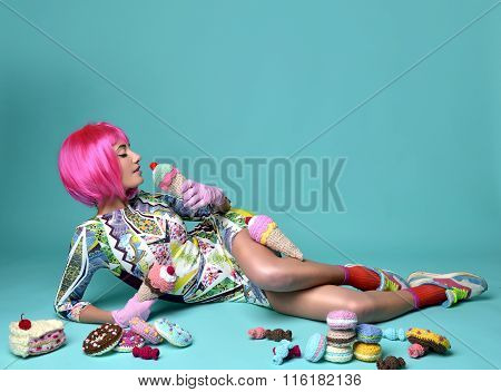 Beautiful Funny Fashion Cheerful Woman In Hot Pink Party Wig Eating Fake Ice Cream