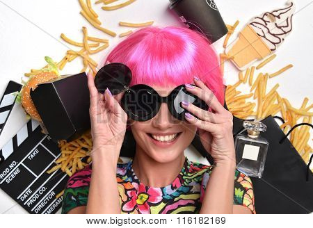 Fashion Woman With Pink Hair And Sunglasses Burger Sandwich French Fries Chips