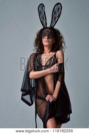 Beautiful Woman Posing In Casual Underwear Cloth And Sensual Bunny Rabbit Mask