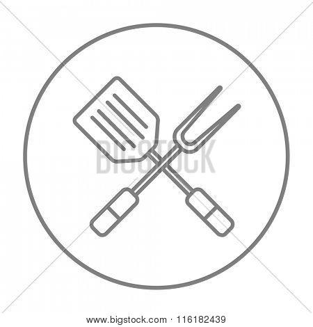 Kitchen spatula and big fork line icon.