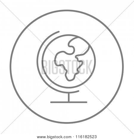 World globe on stand line icon.