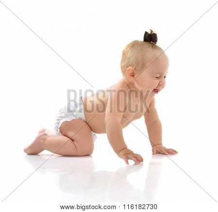 Infant Child Baby Girl In Diaper Crawling Happy Lauging I