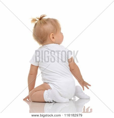Infant Child Baby Toddler Sitting Backwards Back Wiev And Looking Up Isolated