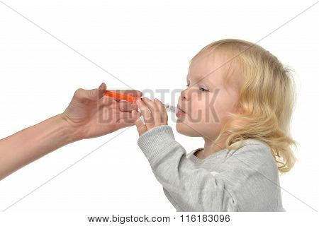 Baby Toddler Child Take An Oral Medical Suspension An Ibuprofen For Relieving Reduce