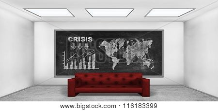 Drawing Crisis Concept On Blackboard