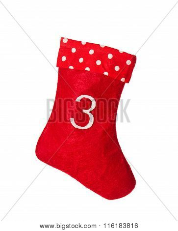 Stocking. Advent Symbol. Red Christmas Sock For Gifts