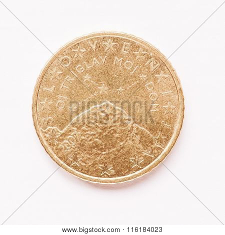 Slovenian 50 Cent Coin Vintage
