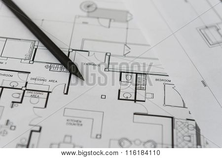 Black Pencil On Architectural For Construction Drawings