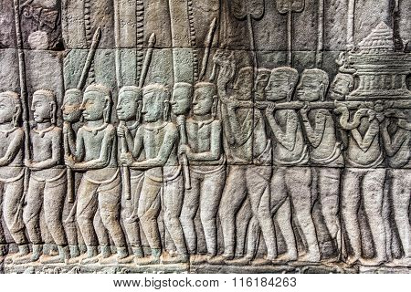 Bas-relief carved on the wall of Angkor Wat, Cambodia