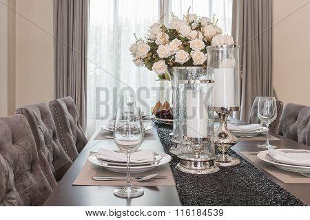 Luxury Dinning Room Vase Of Flower On Wooden Table