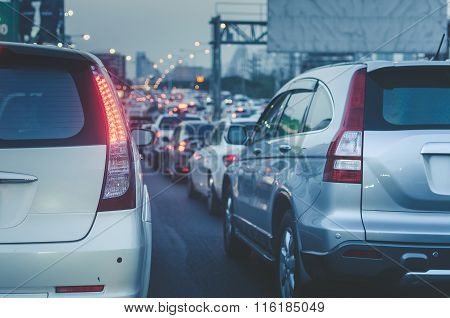 Traffic Jam With Row Of Car On Express Way Before Night