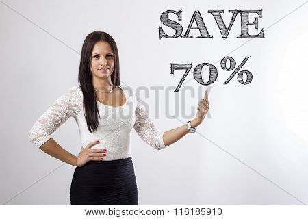 Save 70 Percent - Beautiful Businesswoman Pointing