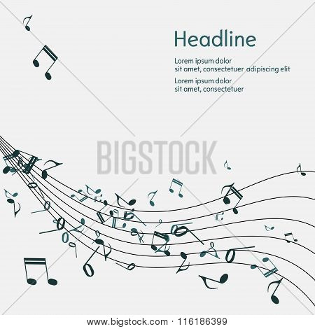 Abstract music background with notes.