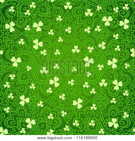 Ethnic Green Clover Backgrounds