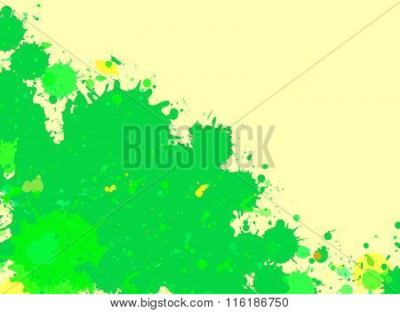 Green Watercolor Paint Splashes Frame