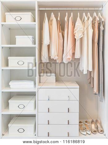 White Wardrobe On Wooden Floor With Dress