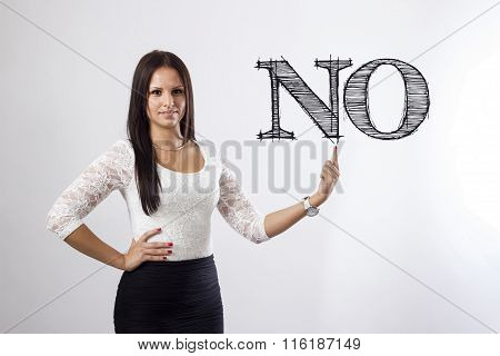 No - Beautiful Businesswoman Pointing