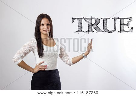 True - Beautiful Businesswoman Pointing