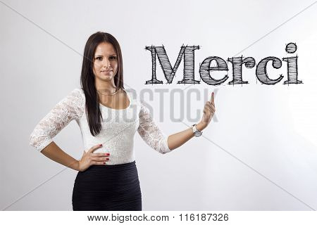 Merci - Beautiful Businesswoman Pointing